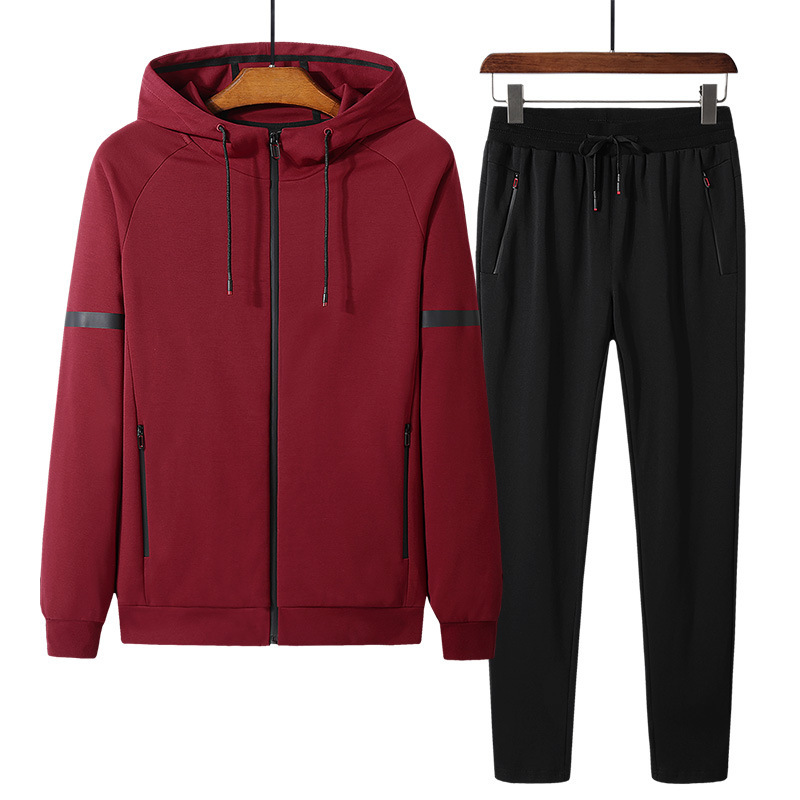 Men's Double-sided Fitness Comfortable Sportswear Straight Pants Two-piece Cotton Jogging Running Suit