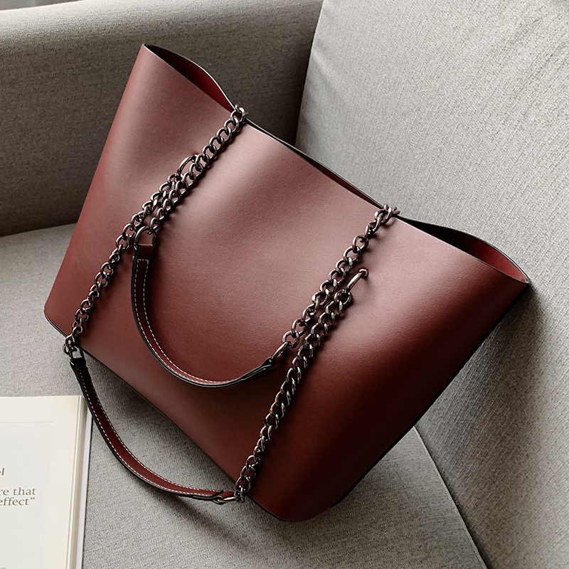 Solid Color PU Leather Shoulder Bags For Women 2020 Chain High Capacity Handbags Travel Luxury Hand Bag Female Shoulder Bag