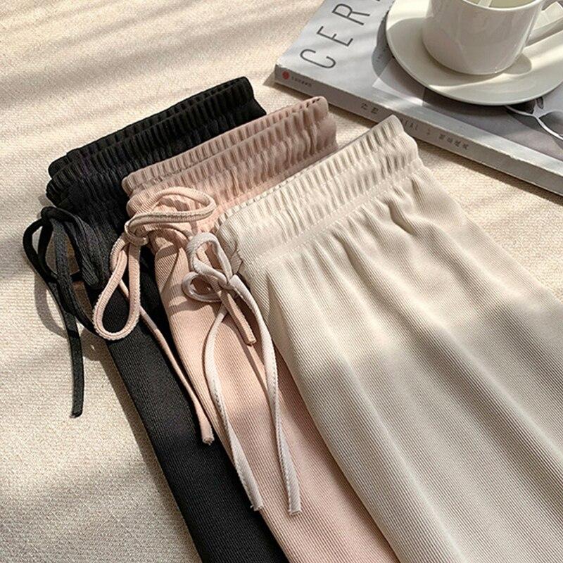 Мягкие удобные женские брюки 2020 новые летние повседневные Слаксы с высокой талией женские длинные брюки до щиколотки из ледяного шелка женские Слаксы