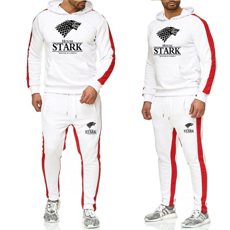 Two Piece Set Men Outfits Game Of Thrones Hoodie Sweatshirt House Stark Tracksuit Mens Sport Suits Jogging Sweat Suits Male Set