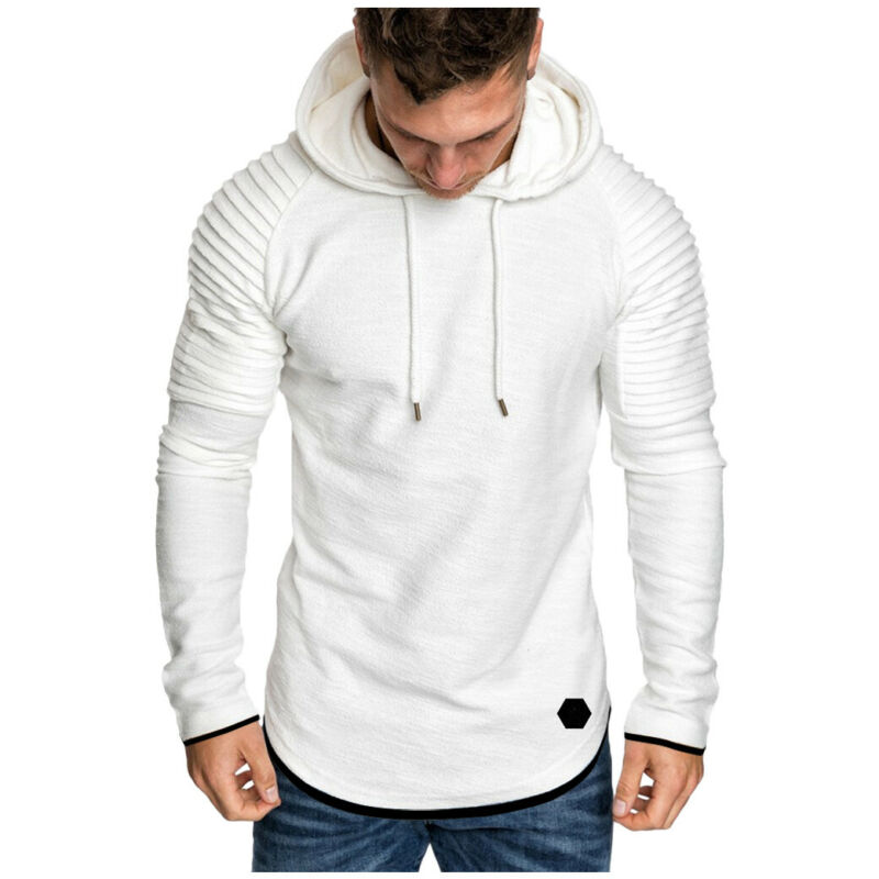 Men Casual Hoodies Jacket Solid Sports Hooded Pullover Autumn Spring Male Slim Pleated Sweatshirts Long Sleeve Outerwear Tops