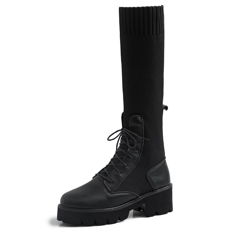 Lenksien beknopte stijl wiggen platform patchwork puntschoen lace up vrouwen pompen natuurlijke lederen punk dating casual schoenen L18 - 3