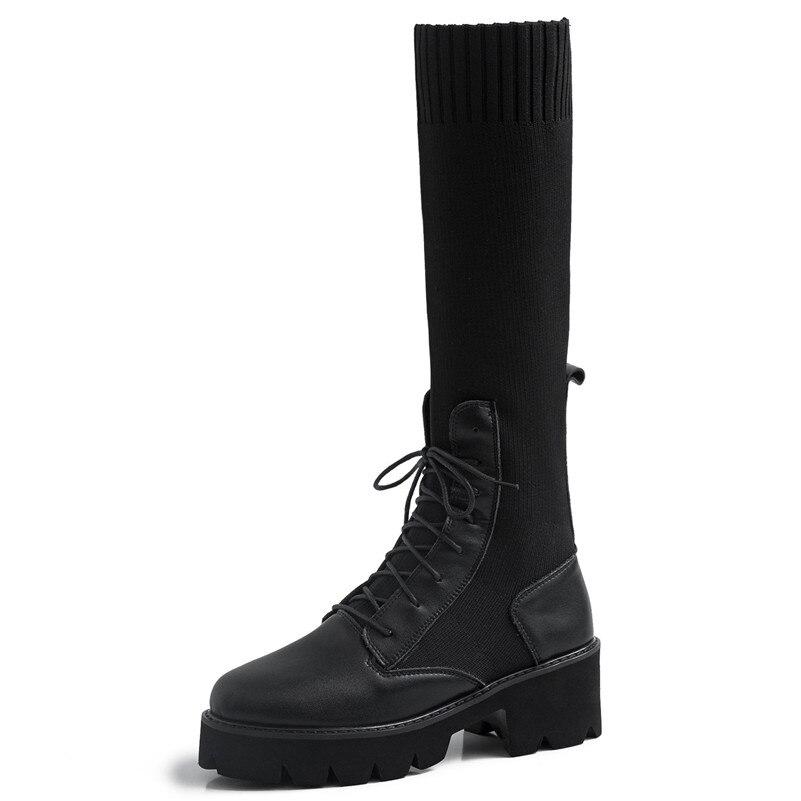ENMAYER Primavera Mulher Sapatos de Salto Alto Do Dedo Do Pé Quadrado Calcanhar Quadrado Plataforma Mulheres Casual Shoes Lace up Namoro Sólida Rasa sapatos de senhora - 3