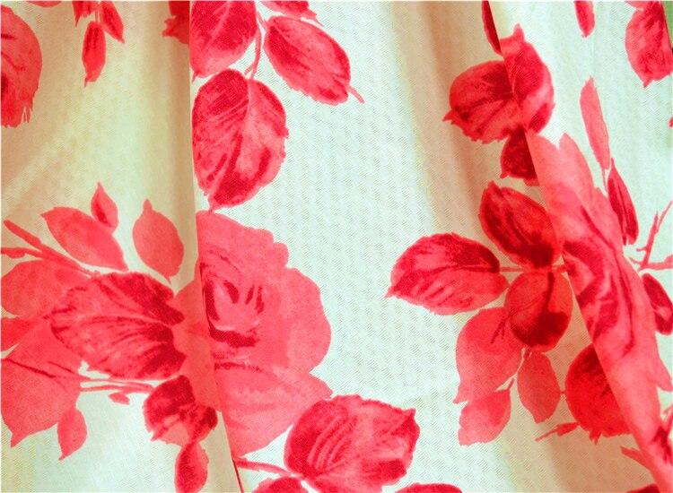 US $7.15 |Летняя классическая красная рубашка с белыми цветами и цифровой печатью qipao/юбка из натуральной конопляной ткани 0,5 м|Ткань| |  - AliExpress