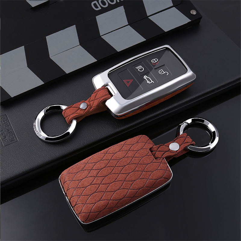 Suede Leather Car Key Case Cover For Land Rover A9 Range Rover Sport 4 Evoque Freelander 2 Discovery Jaguar XE XJ XJL XF C-X16