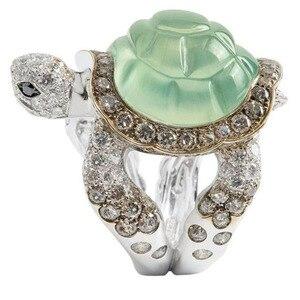 Прямая поставка модные милые кольца с украшением в виде черепахи ювелирные изделия классические женские обручальные кольца с фианитом