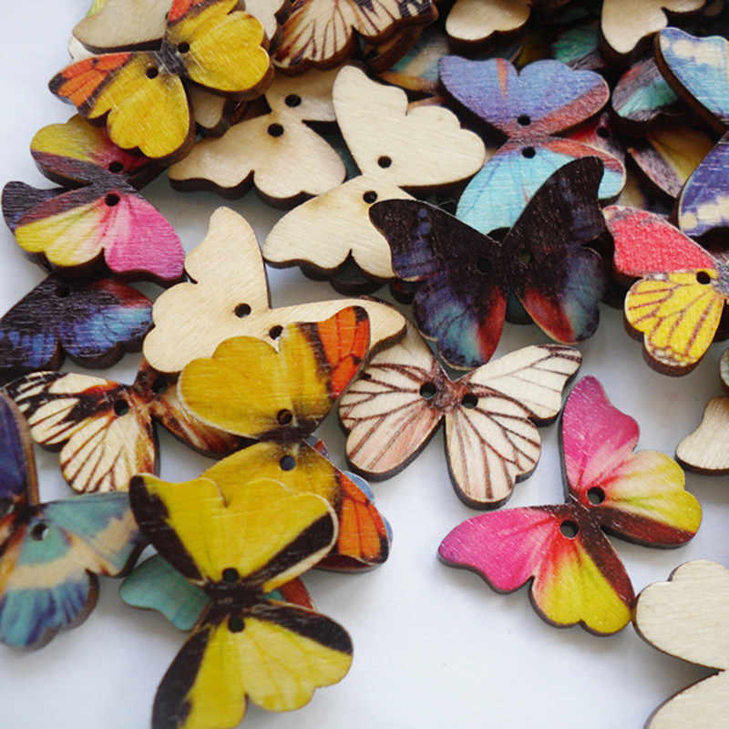 50pcs//Set Wood Butterfly Handmade 2 Holes Wood Buttons Sewing Scrapbooking DIY