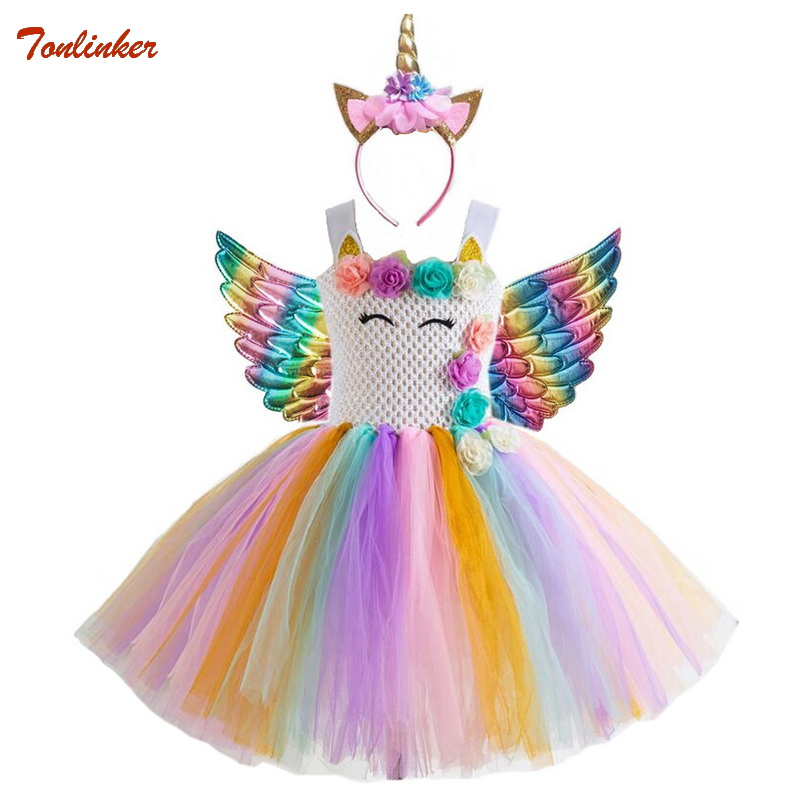 Halloween Unicorn Dress For Children Kids Birthday Party Dress With Wings Headband Girl Formal Prom Girls Princess Dress Headdre