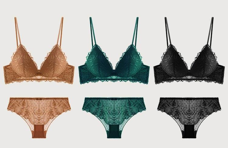 CINOON New Sexy Bra set Women's push up Lace Underwear Panties Thin breathable bra set Jacquard Sexy Underwear Free Shipping (10)