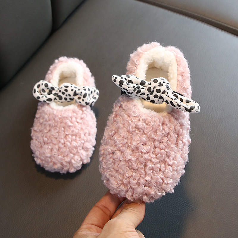 New Winter Kids Fur Shoes Baby Girls Warm Flats Children Princess Shoes Toddler Brand Loafer Fashion Sneakers Sneakers     - title=