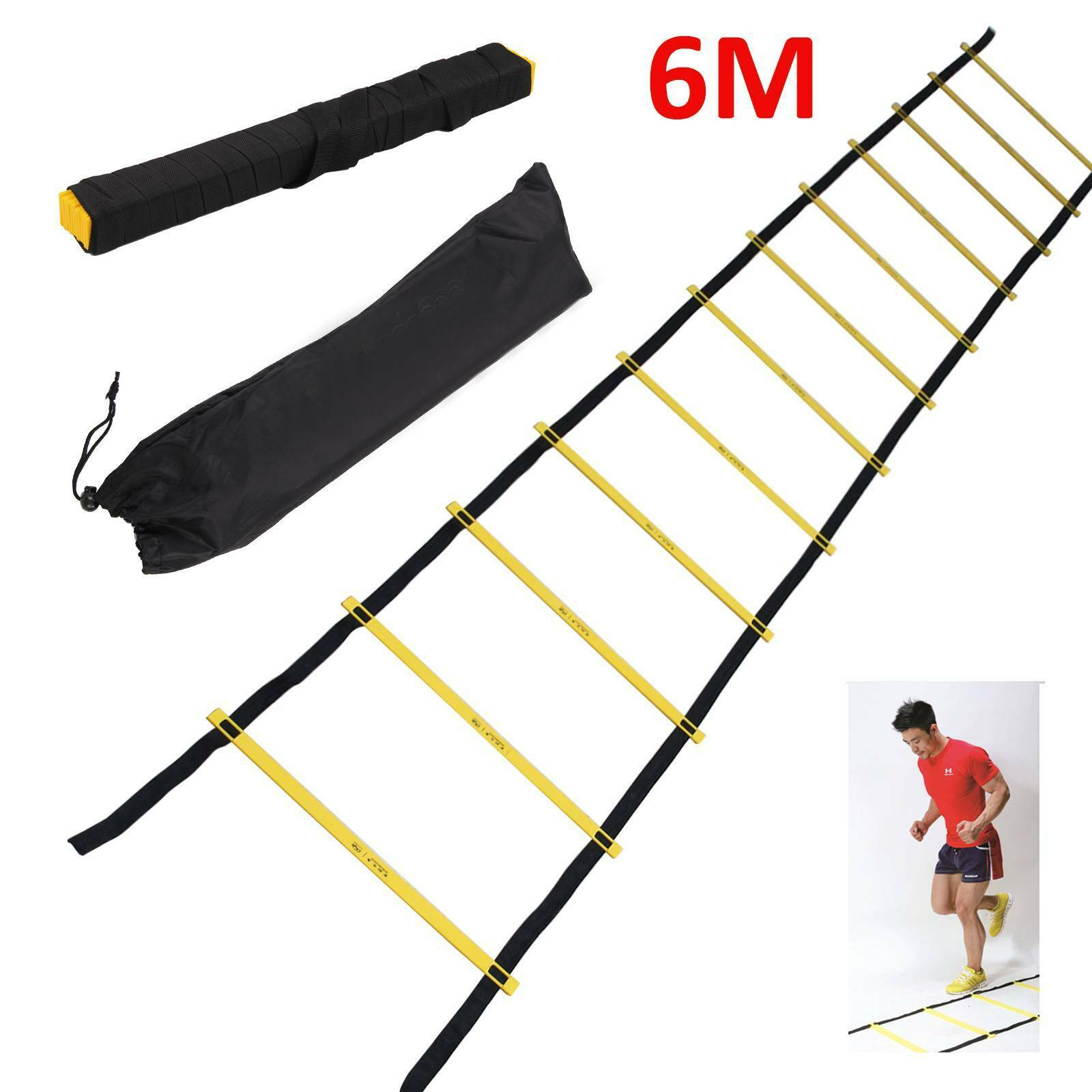 6M Football Training Rope Ladder Jump Lattice Ladder Obstacle Training Speed Energy Agility Ladder Pace Training Soft Ladder