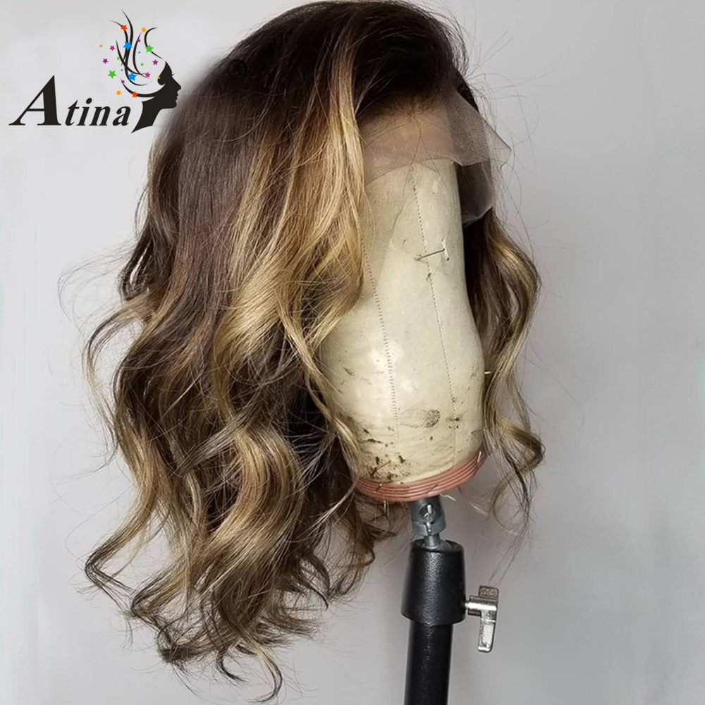 Atina 180% Full Lace Human Hair Wigs Highlight Colored Ombre Short Bob Wig Wavy PrePlucked Bleached Knots Brazilian Remy Frontal