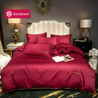 Sondeson Women 100% Cotton Wine Red Bedding Set Printed 80S Long staple Cotton Soft Duvet Cover Flat Sheet Pillowcase Bed Linen