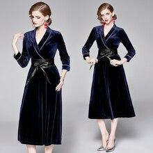 Fashion Runway Maxi Dresses Womens wrist Sleeve Vintage blue Dress Elegant Party velvet dress with a belt