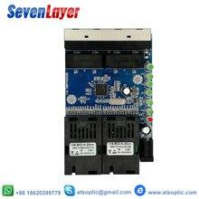 Porto 10/100 m pcba 10 da fibra do sc do único modo 4 rj45 e 2 dos meios óticos do conversor da fibra do interruptor dos ethernet