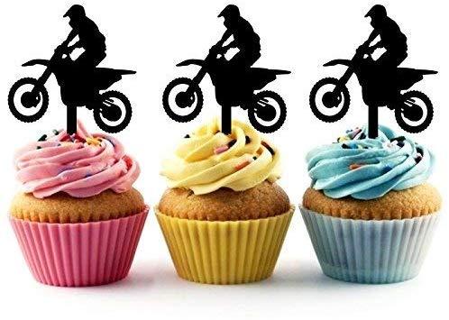 Stupendous Motocross Racing Sport Silhouette Acrylic Cupcake Toppers 24 Pcs Birthday Cards Printable Trancafe Filternl