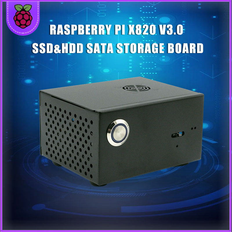 Raspberry Pi X820 (X800) SSD&HDD Storage Board Matching Metal Case / Enclosure + Power Control Switch + Cooling Fan