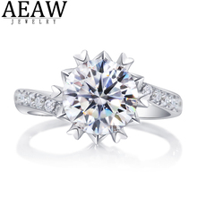 10 gold round coated cakeboard 12 ct DF Color Round Brilliant Cut 1.5Carat CT 7.5mm Moissanite Engagement Halo Ring Snow Flower Style Real 18k White Gold Gift