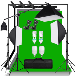 Photography Lighting Equipment Kit With Cantilever Frame Support System Background Stand E27 Socket 135W Bulb For Video Shooting