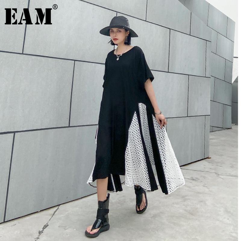 [EAM] Women Black Lace Split Joint Big Size Dress New Round Neck Half Sleeve Loose Fit Fashion Tide Spring Summer 2020 1U073