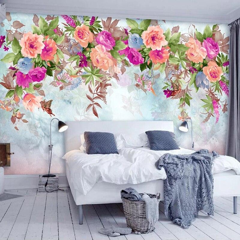 Custom 3D Photo Wallpaper Flowers Mural Papel De Parede Home Decor Pastoral Living Room Bedroom Non-woven Embossed Wallpaper Art
