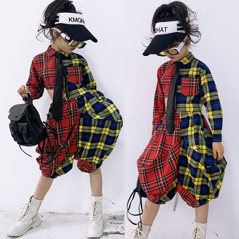 Girls Catwalk Show  Tide Clothes Fashion Personality Loose Plaid Suit Summer Hip Hop Jazz Dance Costumes Stage Outfits DL4291