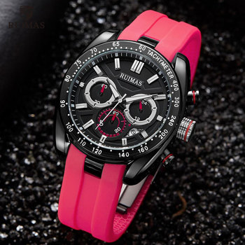 RUIMAS Men Watches Red Silicone RN541G