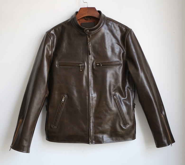 Free Shipping.super Quality Horse Hide Jacket.japan Style.genuine Leather Jackets.vintage Classics Man Slim Coat.sales