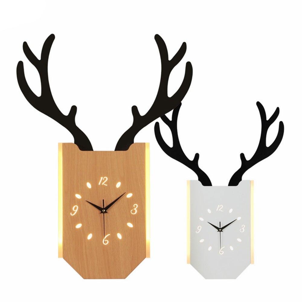 18 Вт скандинавские рога настенные часы лампа Современная гостиная прикроватные часы для спальни настенный светильник Внутреннее освещени... - 4