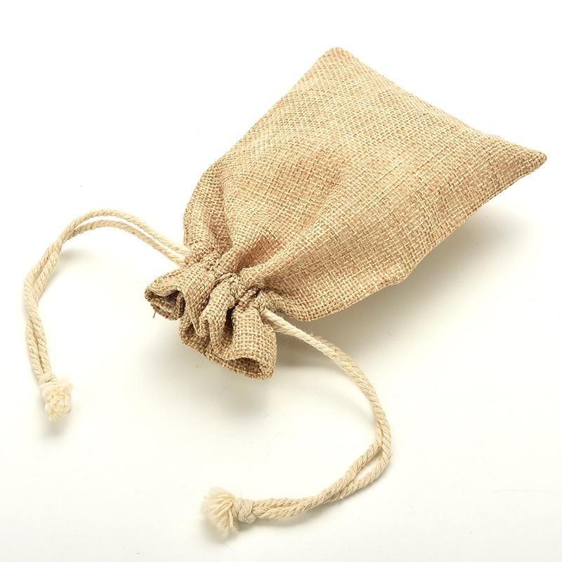 1pcs Mini Rustic Burlap Pouch Sack Drawstring Tie Bag Wedding Party Favor