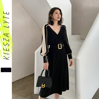 Luxury Dresses 2020 New French Style Chiffon Patchwork Office Lady Sexy Evening Party Midi Dress Women Designers
