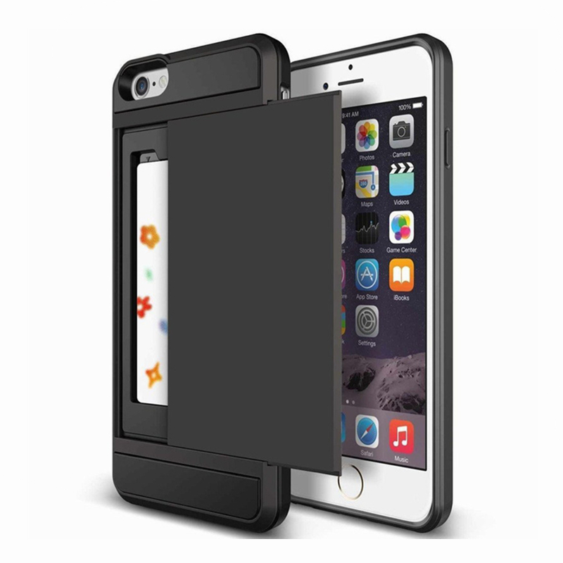 Slide Card Slot Holder Phone <font><b>Case</b></font> <font><b>for</b></font> <font><b>iPhone</b></font> 11 Pro <font><b>XS</b></font> <font><b>Max</b></font> XR 7 8 Plus <font><b>X</b></font> <font><b>Armor</b></font> Silicone Back Cover <font><b>For</b></font> <font><b>iphone</b></font> 6 6s 5 Coque Funda image
