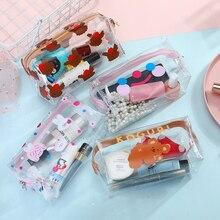 Toiletry-Bag Makeup Women Cute Travel Transparent Waterproof Portable Cartoon for High-Capacity