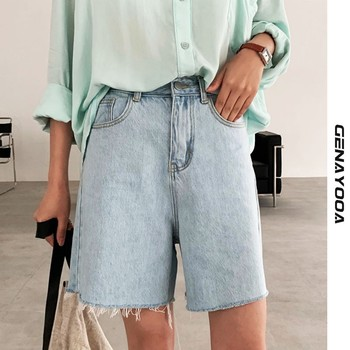Genayooa Streetwear Biker Shorts Women Korean Style 2021 Summer Cotton Denim Shorts Jeans High Waist Cool Short Feminino Chic 1