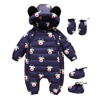 Russia Winter Baby Boy Girl Snow wear jumpsuit One piece bodysuit gloves Infant Christmas Santa Deer New year Duck Down 80%