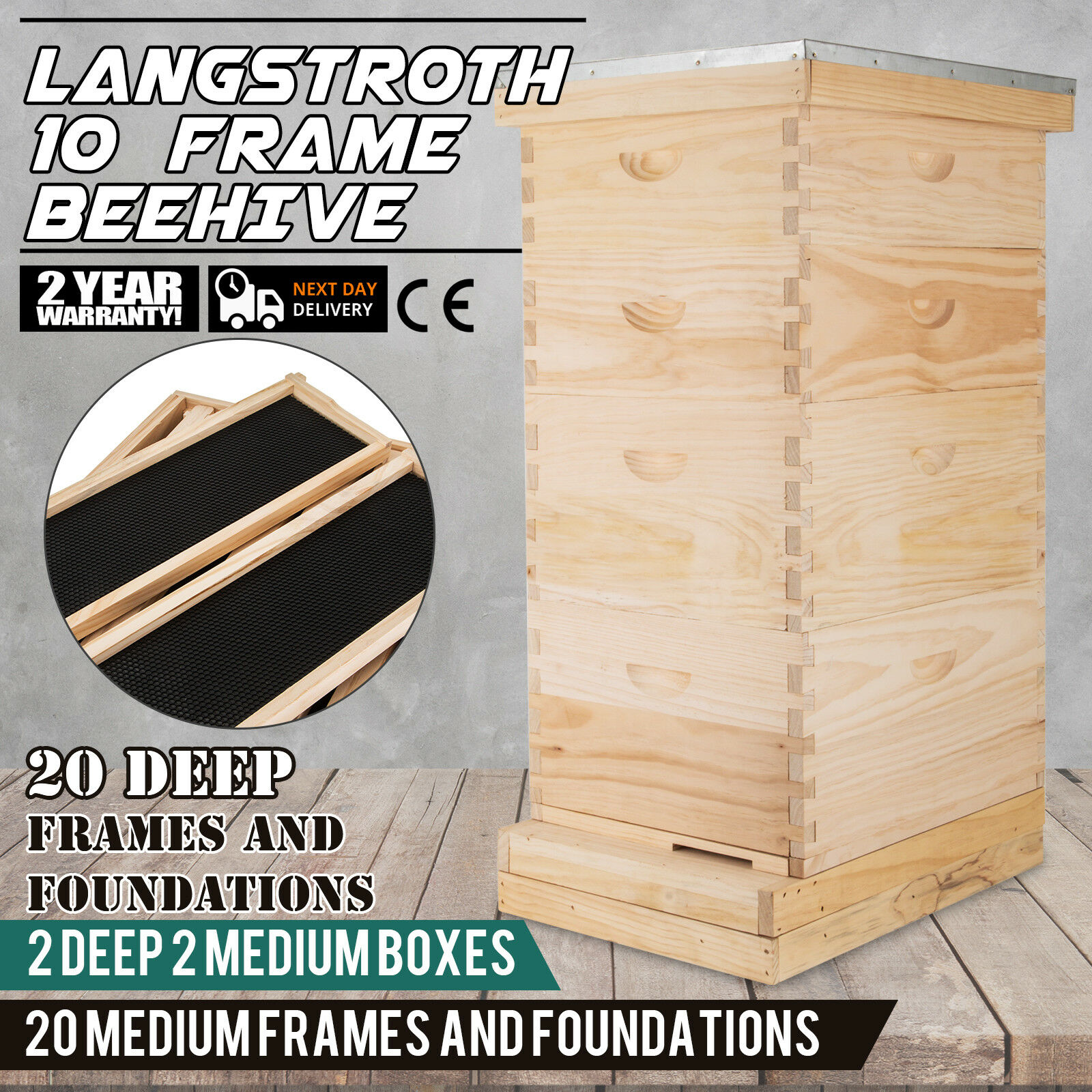 Langstroth Bee Hive 10 Frame 2 Deep 2 Medium Beekeeping Equipment Solid construction (Includes all Frames & Foundations)