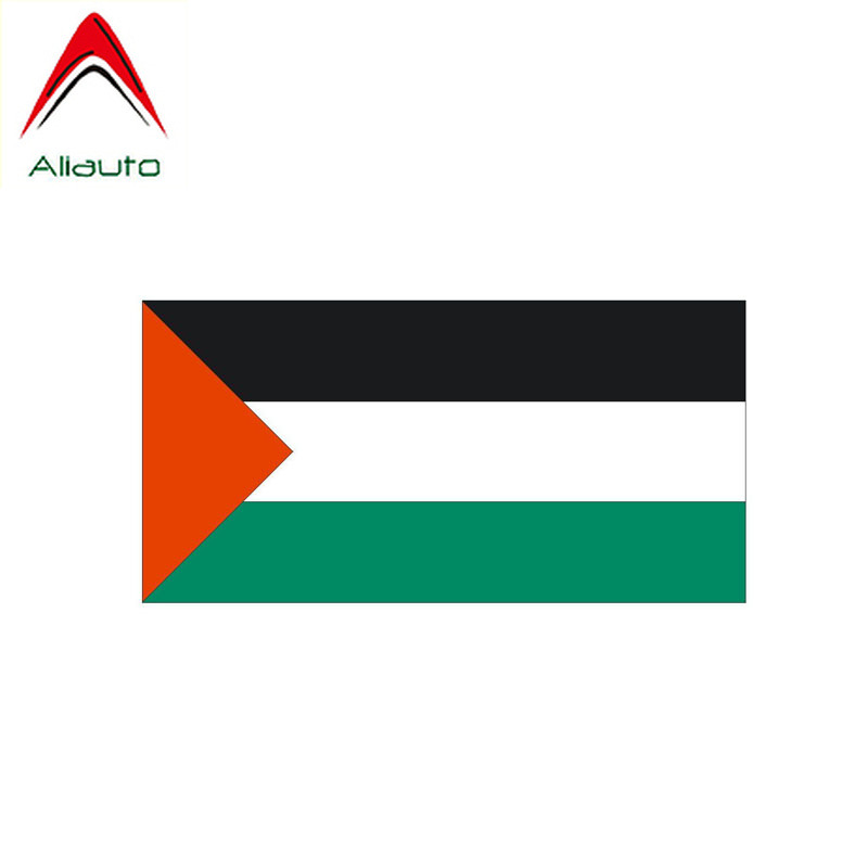 Aliauto Creative Funny Car Sticker Reflective Palestine Flag Waterproof Sunscreen Anti-UV Reflective Decal PVC,13cm*6cm