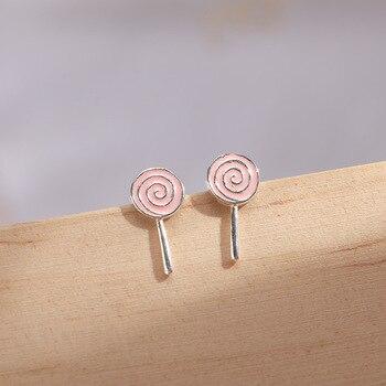 925 Sterling Silver Pink Enamel Round Stud Earrings For Women Wedding Female pendientes mujer moda eh1230 фото