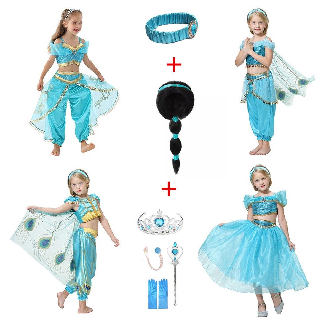 2019 Carnival Children's Dress Aladdin's Lamp Cosplay Halloween Costume+wig Jasmine Princess Girl Dress Role Clothes Sets+gift