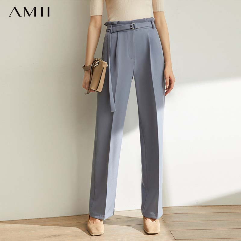 Amii Minimalist Fashion Trendy, Foreign Casual Trousers, 2019 Autumn New Style With Belt, High Waist And Thin Pants 11940345
