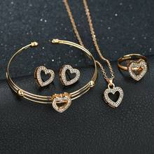 4 piece heart-shaped necklace, stud ring, bracelet set, jewelry set