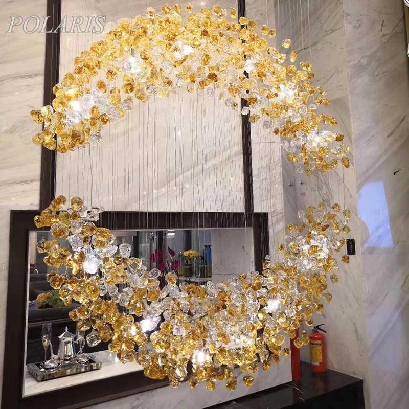 Современная роскошная хрустальная люстра освещение стеклянный камень подвесные светильники лестница светодиодный светильники люстры