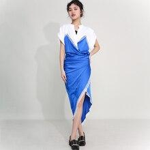 [EAM] Women Red Lace Irregular Long Elegant Dress New V-Neck Short Sleeve Loose Fit Fashion Tide Spring Summer 2021 1U31503