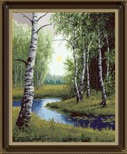 Birch forest cross stitch package tree river 18ct 14ct 11ct cloth cotton thread embroidery DIY handmade needlework(China)
