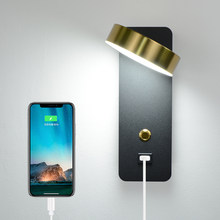 Indoor wall lamps DC5V USB charge 9W wiht switch led wall light black and golden modern wall lamp stair study livingroom sconce