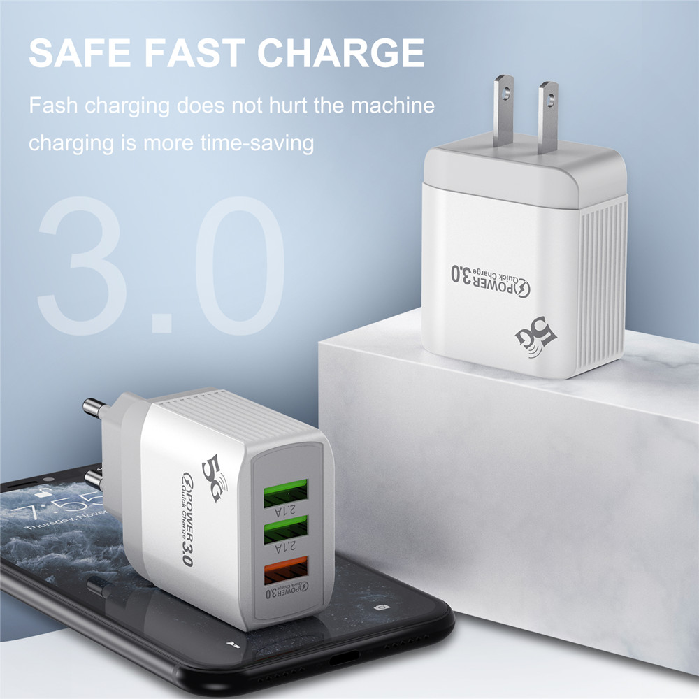 Ottwn 3 USB Port Quick Charge QC 3.0 Wall Charger For Iphone Xiaomi Huawei Fast Charge Charging Adapter Mobile Phone Charger