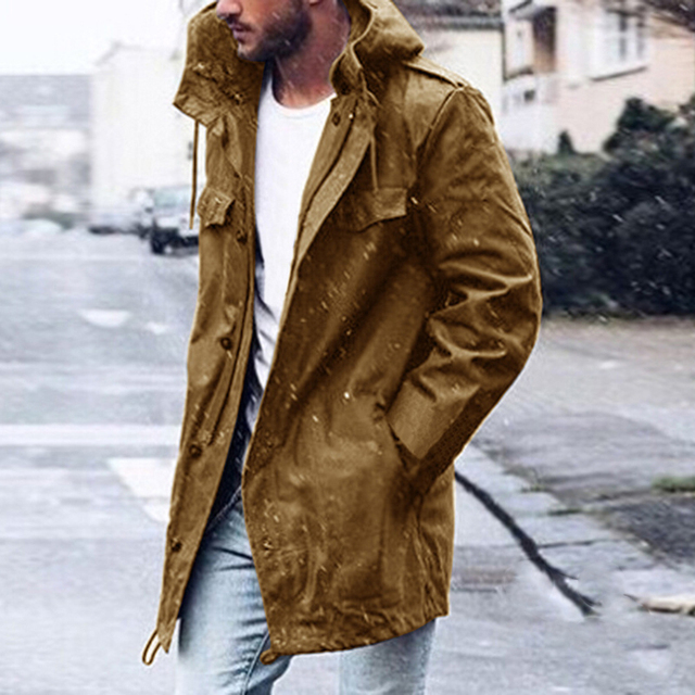 Fashion Men's Casual Trench Solid Coat Male Plus Size Spring Autumn Coat Hooded Outwear Windbreaker Hoody Overcoat Clothes Coats