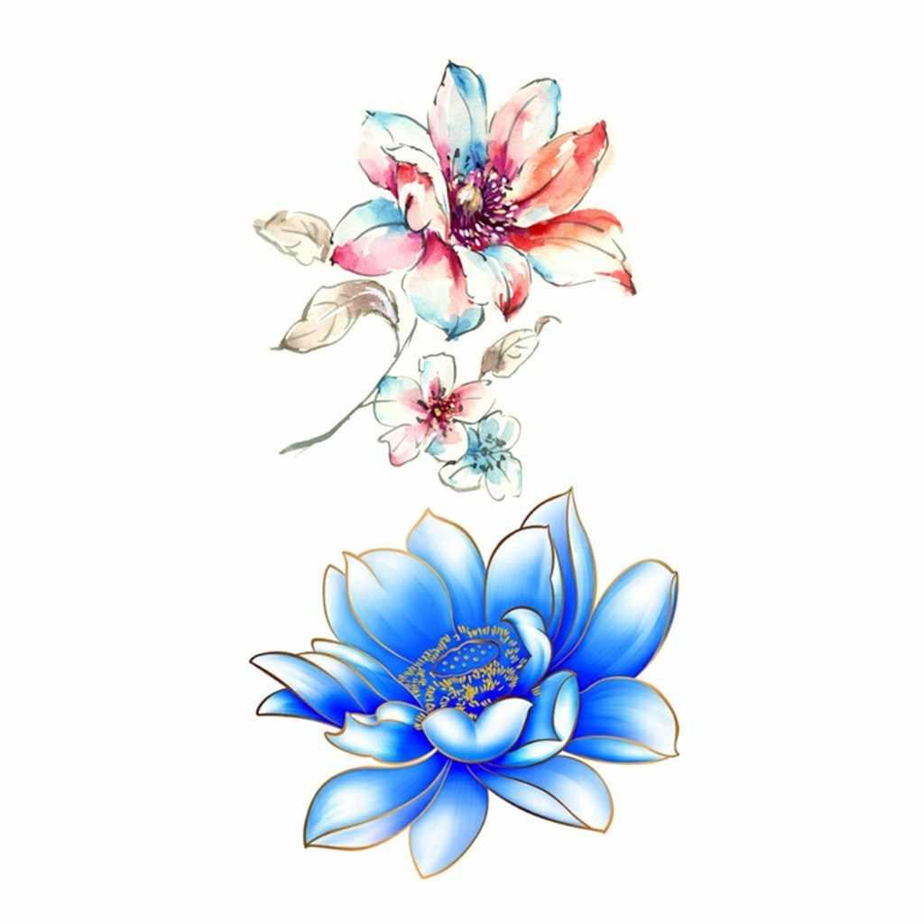 Fashion Colorful Flowers Tattoo Women New Waterproof Body Temporary Tattoo Sticker Removable Body Art Arm Fake Tatoo Paper 9.12