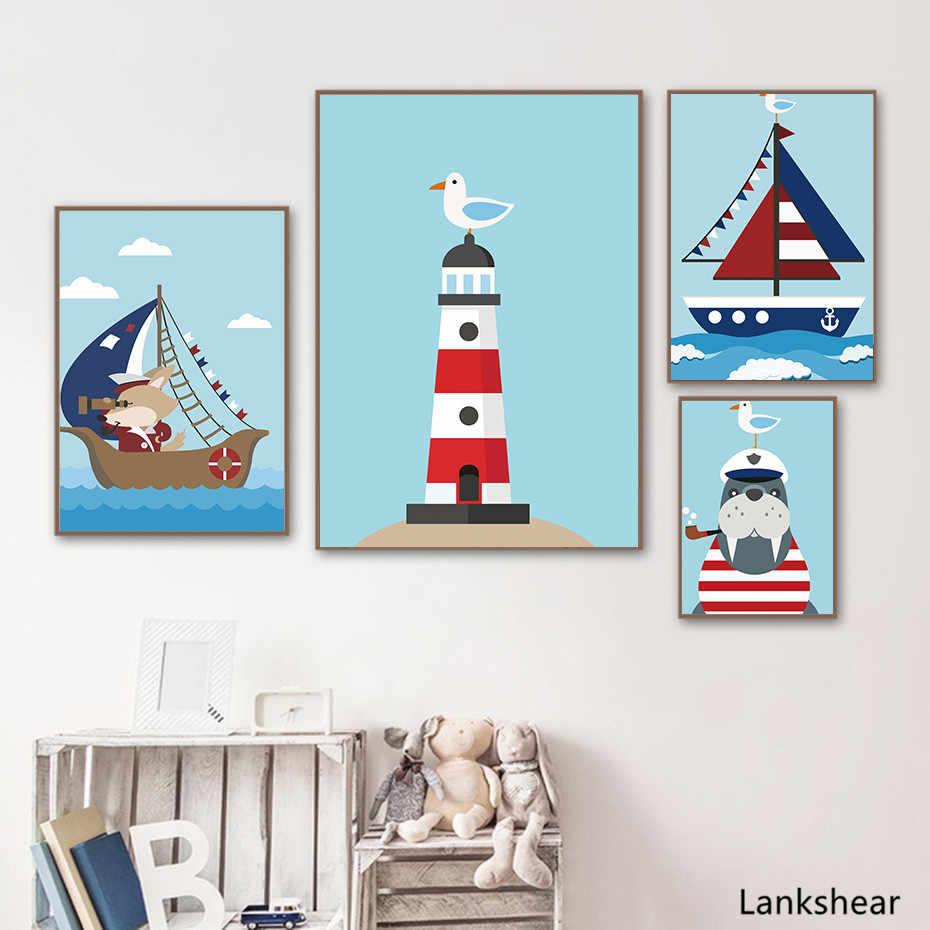 Cartoon Segelboot Sailor Leinwand Poster Und Drucke Für Kinder Schlafzimmer Moderne Wand Malerei Modulare Blau Bild Kunst Wandbild Wand Dekor