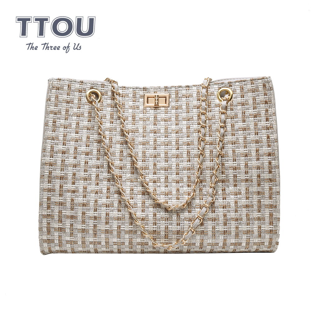 Famous Brand Women Chain Top-Handbags Luxury Quality Large Capacity Ladies Crossbody Bags Designer Canvas Knitting Shoulder Bags